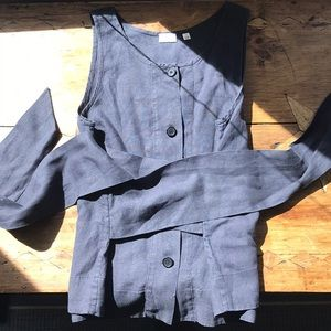 Grey Wilfred Button Down Kimono Wrap Linen Top, S